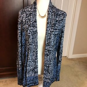 Nic+Zoe Blue and Black Open Front Cardigan Sz M